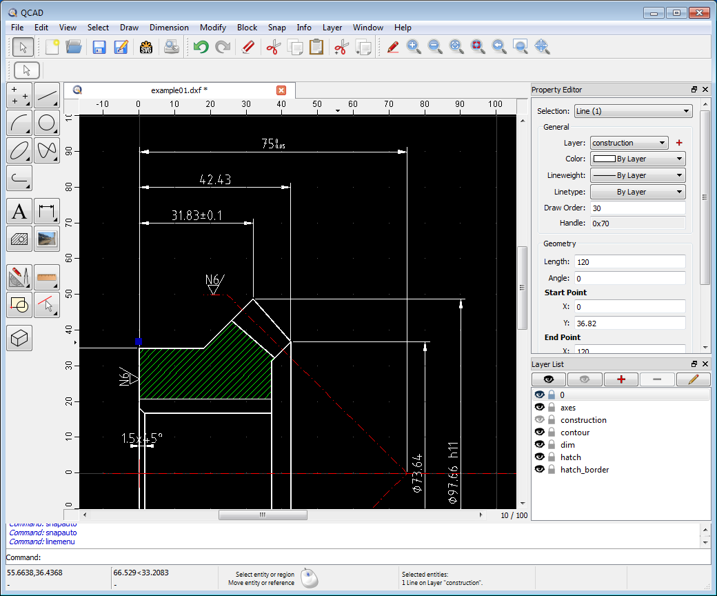 Qcad 2d cad for windows linux mac screenshot malvernweather